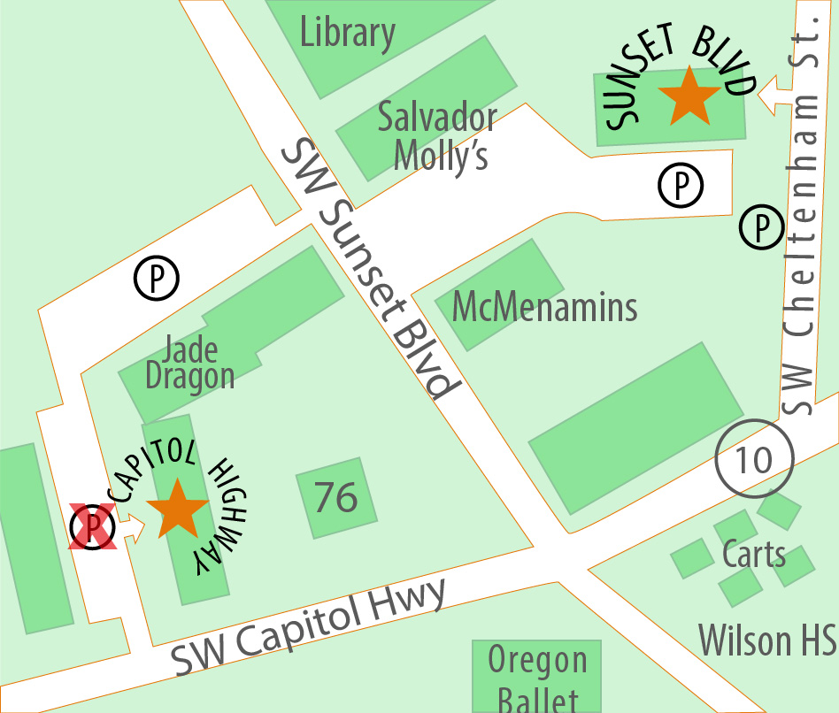 Map of the two locations